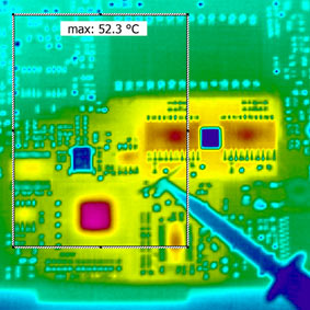 IR image/Thermal image of a circuit board – recorded with a PYROVIEW IR camera