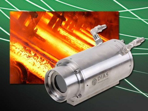 The IR line camera PYROLINE in industrial protective housing (IP65) with air pruge for temperature measurement on steel
