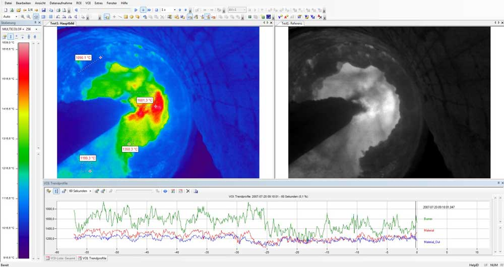 Infrared images are represented and evaluated with the PYROINC software (Example: Combustion chamber of a rotary kiln).